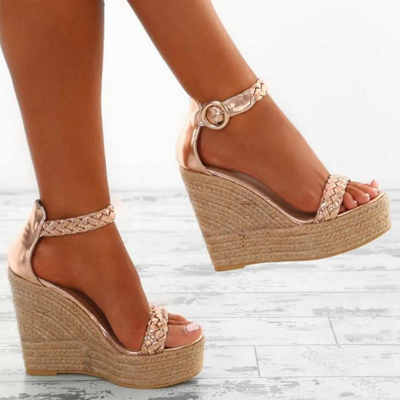Zapatos forme Talons Cuir Mujer Plate Or Chaussures blanc Boucle Compensées Sexy Pompes En Dames Pu Femme Chaussure Chanvre Sandales Femmes Haute Shipping Drop qzxZAA