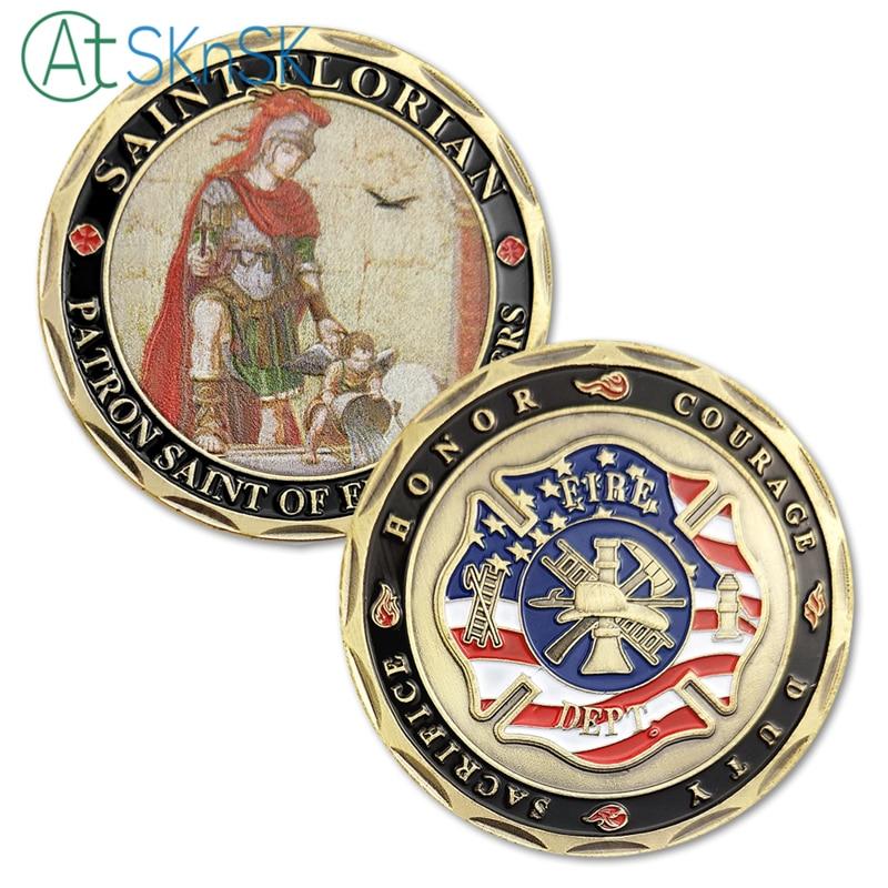 Nový design Dárkové dárky Sběratelský sv. Florián Patron Svatý hasičů Hasičská záchranná výzva Mince Kolekce kovových mincí