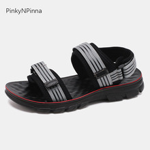 2019 summer young men beach sandals open toe massage insole stripe hook loop black outdoor soft thick bottom easy wear shoes