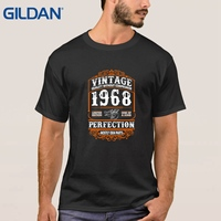 Made In 1968 Born 49th Year Birthday Age Present Vintage Replica Black T Shirt Different Tee
