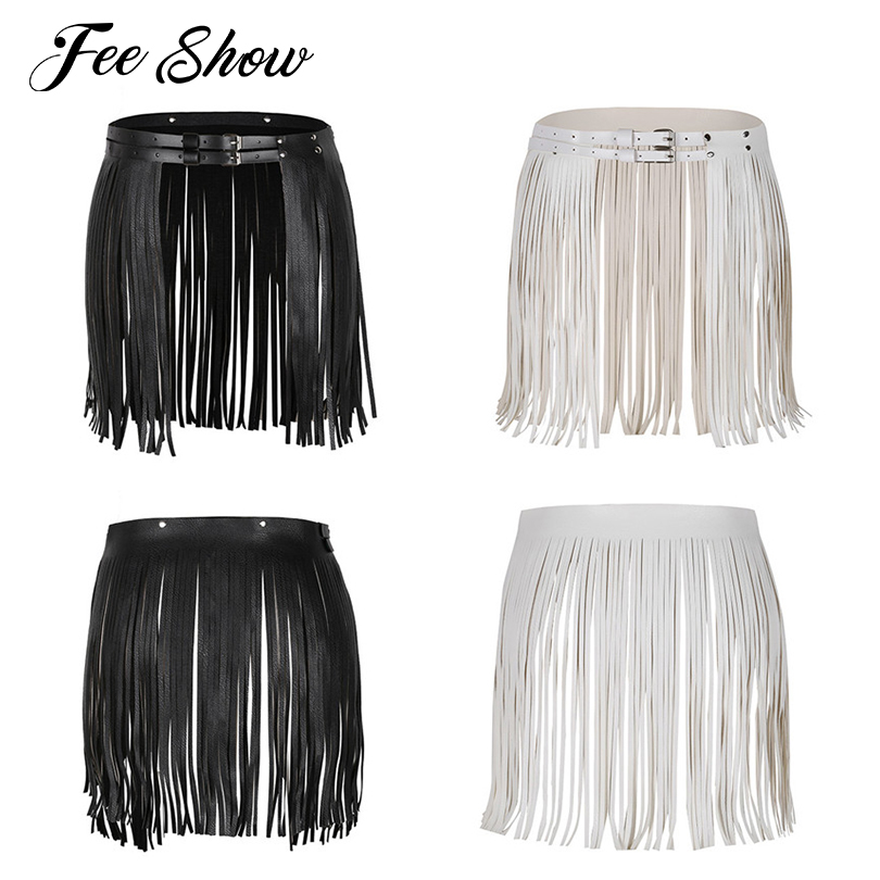 Tassel-Fringe-Belt Buckles Double-Waistband Faux-Leather Adjustable Fashion Women