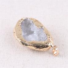 Druzy Agates Stone Cut Chakra Necklace Natural Pendant Irregular White Crystal Rhinestone Jewelry Making