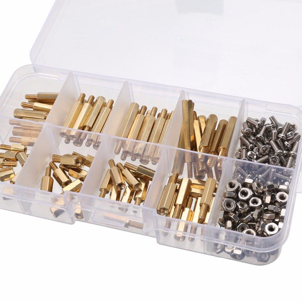 240pcs/Set M2.5 Hex Male Female Threaded Brass Standoff Spacers/Screws/Nuts Set kit 6/8/10/12/15/18/20/25MM цена