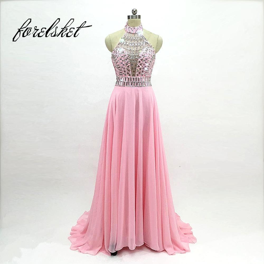 Robe De Soiree Long Prom Dresses 12 Abendkleider Halter Blush