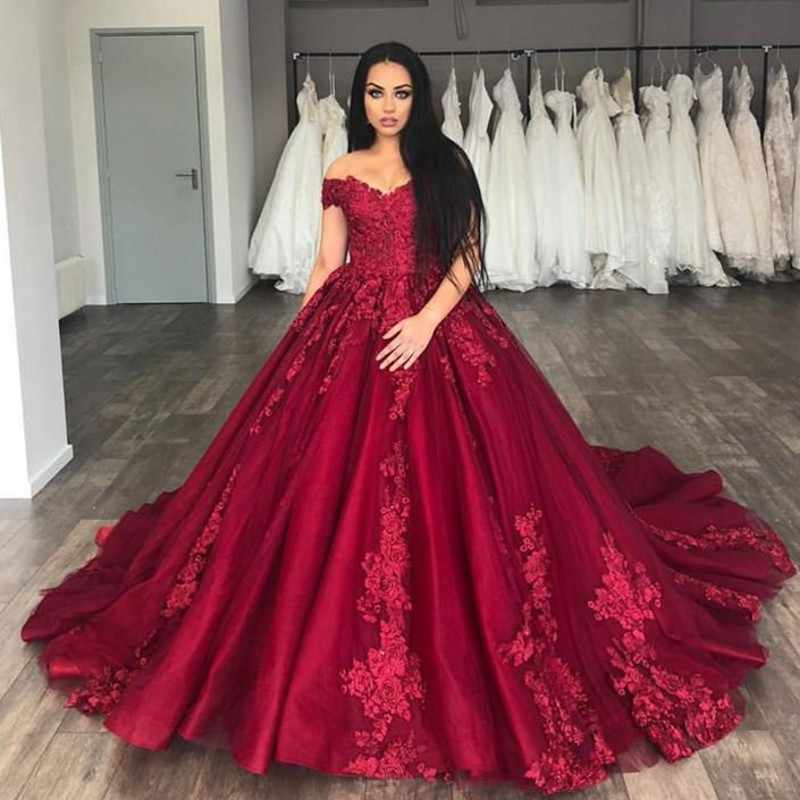 6b2eb5cdaff2b ... Saudi Arabic Burgundy Lace Prom Dresses Vintage Delicate Appliques Long  Prom Gown Off Shoulder Formal Party ...