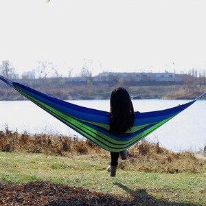 Image 2 - Pogrubienie płótno hamak na zewnątrz czas wolny Camping z Bind liny meble niebieski zielony niebieski