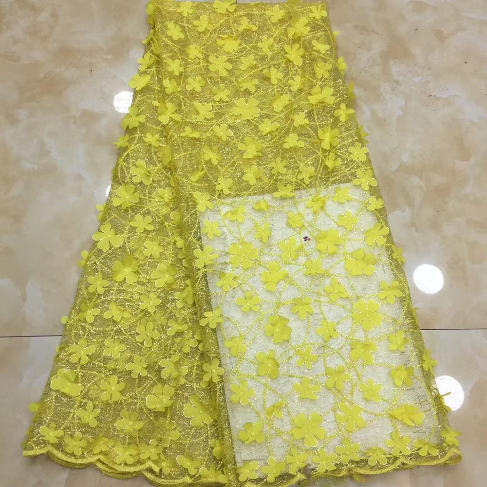 Dernières fleurs style européen perles robe tissu en gros nigéria net Tulle dentelle tissu pour robe XZXJUL222