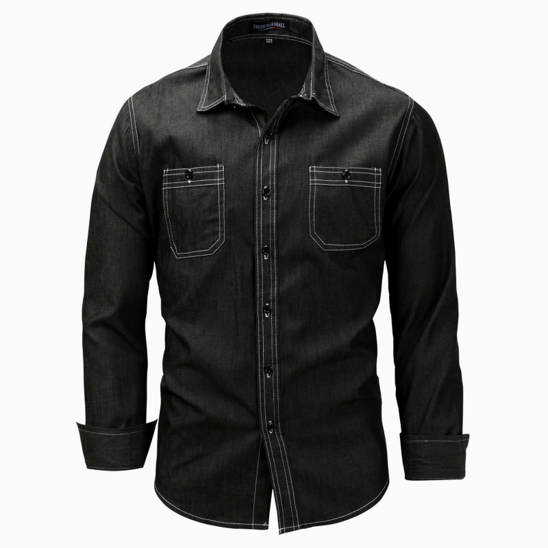 Spring Summer Denim Casual Long Sleeve Shirts Men  Pure Cotton Clothing Designer Slim Fit Cowboy Blouse Camisas Chemise Homme