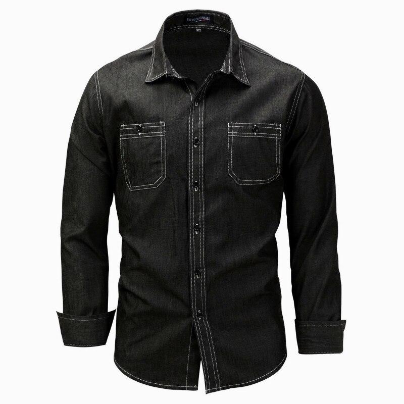 春夏デニムカジュアル長袖シャツ男性純粋な綿の服デザイナースリムフィットカウボーイブラウスcamisasシュミーズオム