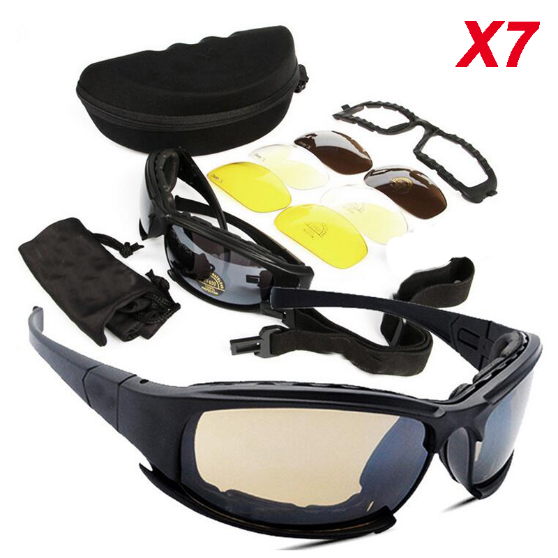 Hiking Camping Men Outdoor Sport UV400 Protection Sunglasses X7 Polarized Glasses Tactical Hunting Shooting Goggles 4 Lens