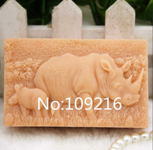 wholesale!!!1pcs Rhinoceros (zx178) Food Grade Silicone Handmade Soap Mold Crafts DIY Mould