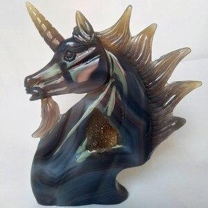 Image 3 - A Doğal taş akik oyma unicorn kristal kafatası kristaller geode küme yaratıcı oyma ev dekorasyon asil ve saf