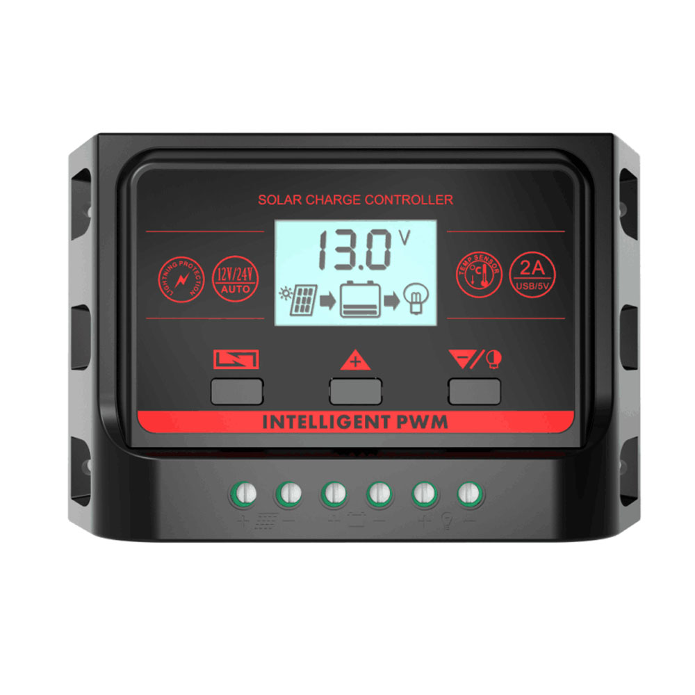 PWM 12V 24V 30A 20A 10A Solar Controller with Backlight LCD Function Dual USB 5VDC Output Solar Panel Battery Charge Regulator