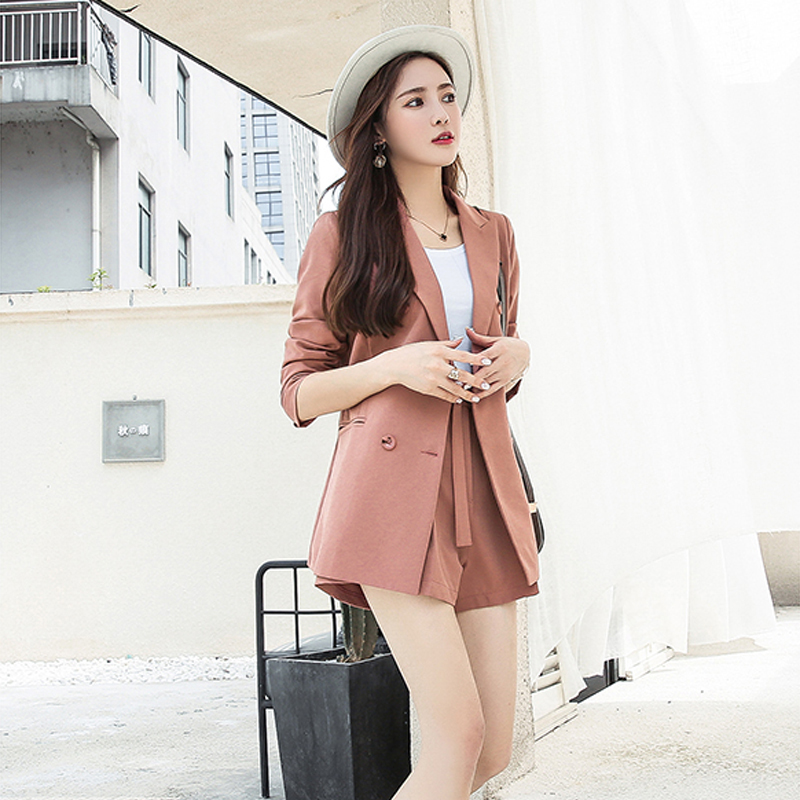 Sashes Fashion Women 2018 2 Shorts To Set Pant Collar Suits Wear Work Notched Blazer Red amp; Jacket Pieces Casual black Short Light FPwxqnOgtg