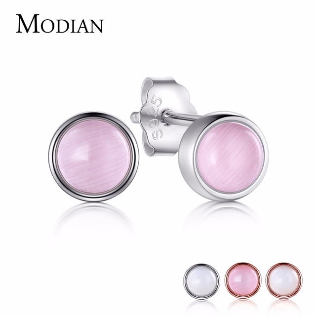 Modian 2018 Solid 925 Sterling Silver Exquisite Pink Opal Stud Earrings Fashion Rose Gold Color Luxury