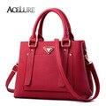 Bolsa da forma das mulheres borgonha tote sacos de alta qualidade PU de couro sacos de ombro do sexo feminino sólida elegante Crossbody bag Bolsa 8436