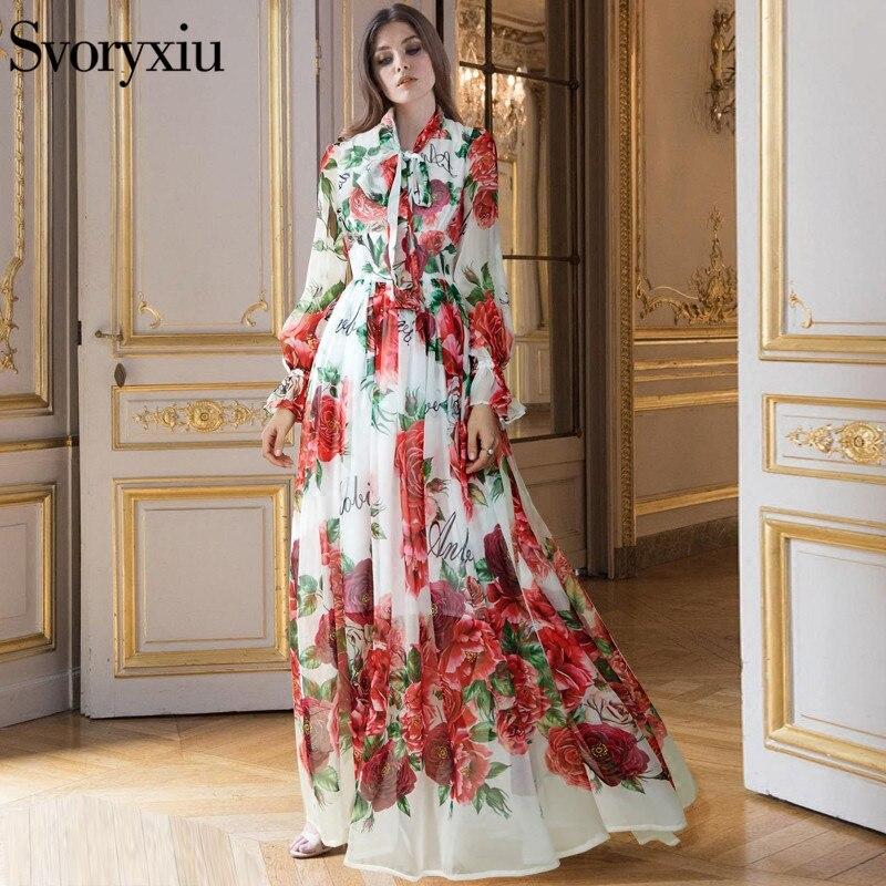 Runway Designer Boho Maxi Dress Womens Elegant Beach Vacation Flower Printing Long Dress Bow Collar Floor-Length Party Dresses