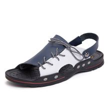 Big Size Genuine Leather Men Sandals New Summer Men Shoes Beach Sandals for Man Fashion Brand Outdoor Casual Sneakers все цены