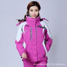 Спорт на открытом воздухе теплый ветер зимняя женская Лыжная альпинистская Кемпинг Пешие Прогулки кусок костюм куртка большой размер сноуборд куртка для женщин
