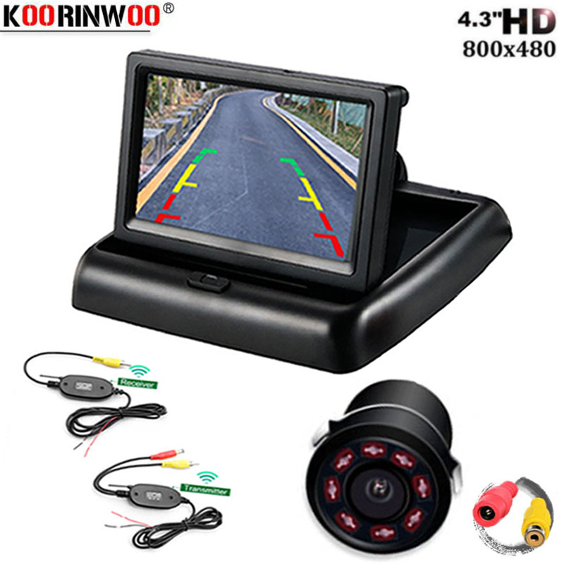 Koorinwoo Parking Assistance System Wireless <font><b>4.3</b></font> <font><b>inch</b></font> <font><b>TFT</b></font> LCD Foldable Car Monitor Display for Rearview Camera Reverse Backup image
