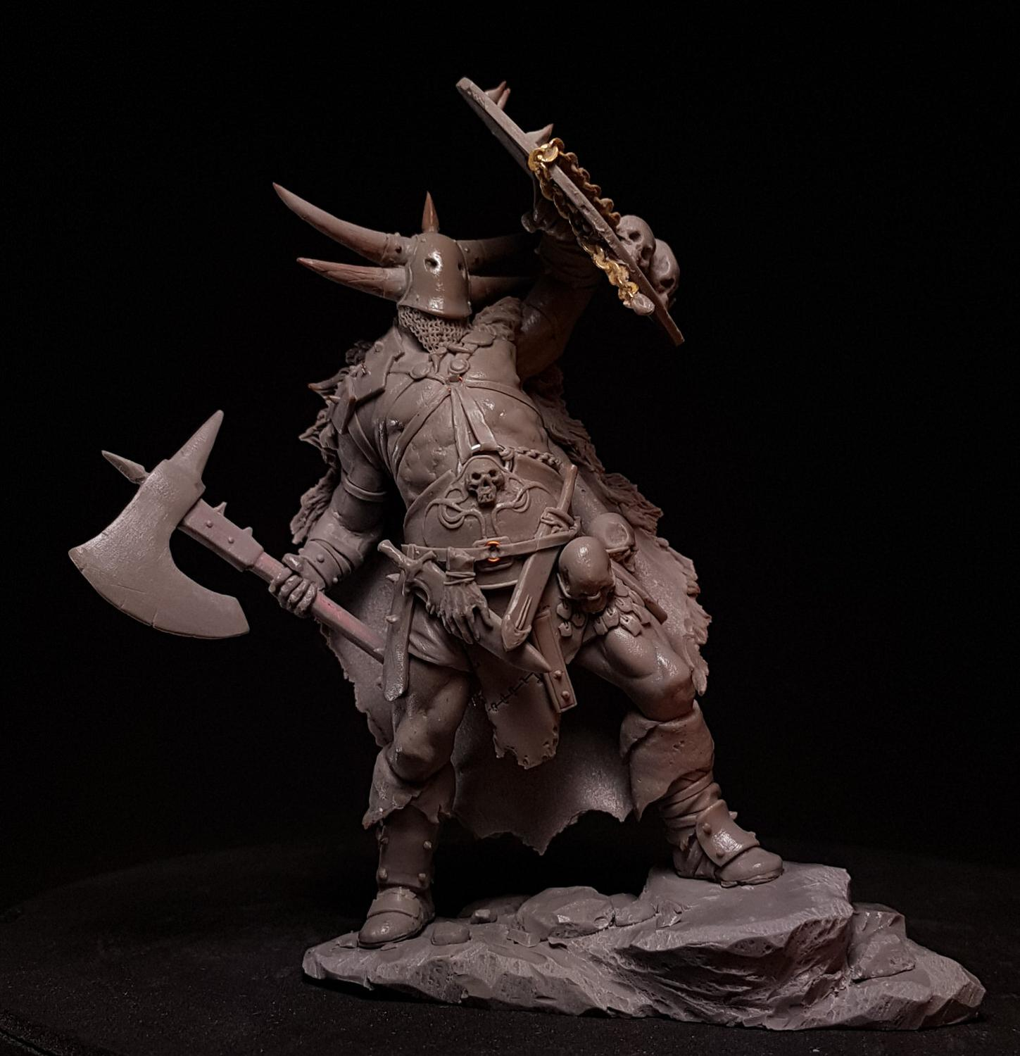 1/24 75MM Ancient Orc Stand With Shield 75mm    Resin Figure Model Kits Miniature Gk Unassembly Unpainted