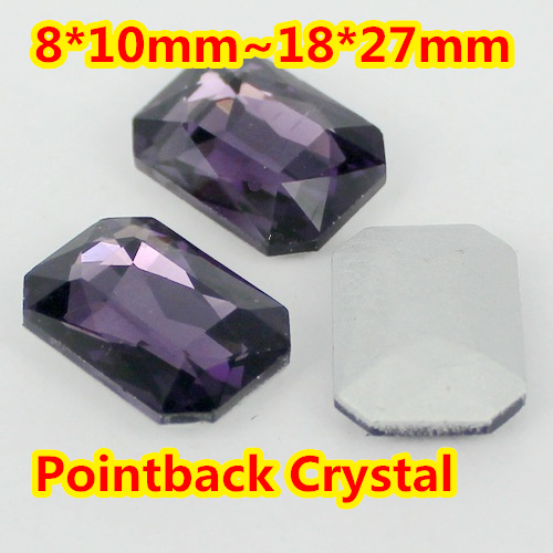 Tanzanite Rectangle Shape Crystal Fancy Stone Point Back Glass Stone For DIY Jewelry Accessory.10*14mm 13*18mm 18*25mm 20*30mm