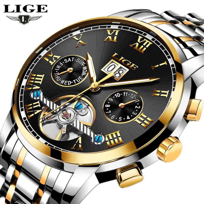 LIGE Luxury Brand Automatic Mechanical Watches Men Fashion Casual Business Watch Man Full steel Waterproof Clock