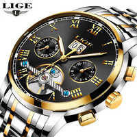 LIGE Luxury Brand Automatic Mechanical Watches Men Fashion Casual Business Watch Man Full steel Waterproof Clock reloj hombre