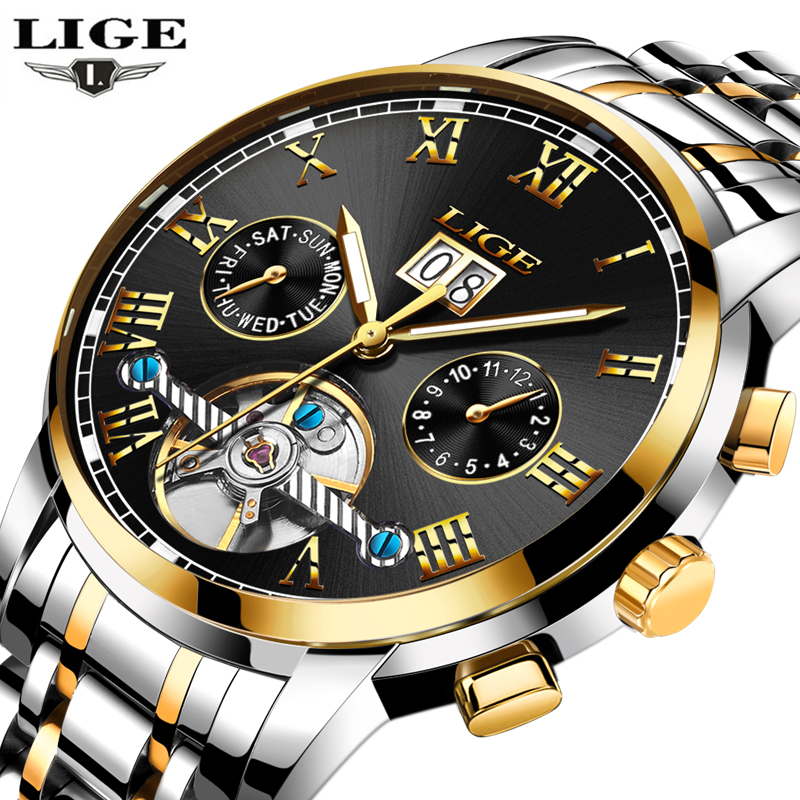 LIGE Luxury Brand Automatic font b Mechanical b font Watches font b Men b font Fashion