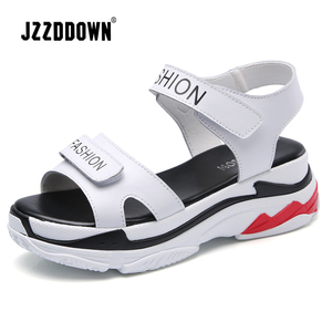 Image 3 - Women Platform Beach sandals shoes Genuine Leather ladies Wedges Sneakers Sandals White Flip Flop shoe summer Mid Heel footwear