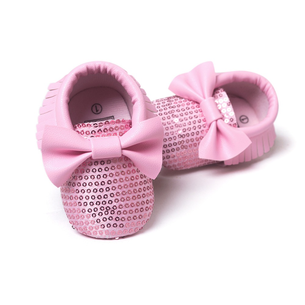 697dd28a52 US $3.66 19% OFF|2018 new fashion red sequins baby bow moccasins Bling  Bling pu leather glitter baby girls dress shoes toddler soft sole moccs-in  ...