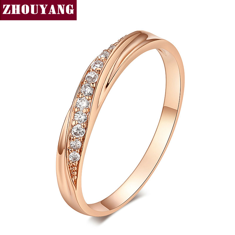 zhouyang top quality simple cubic zirconia lovers rose gold color wedding ring jewelry full sizes wholesale