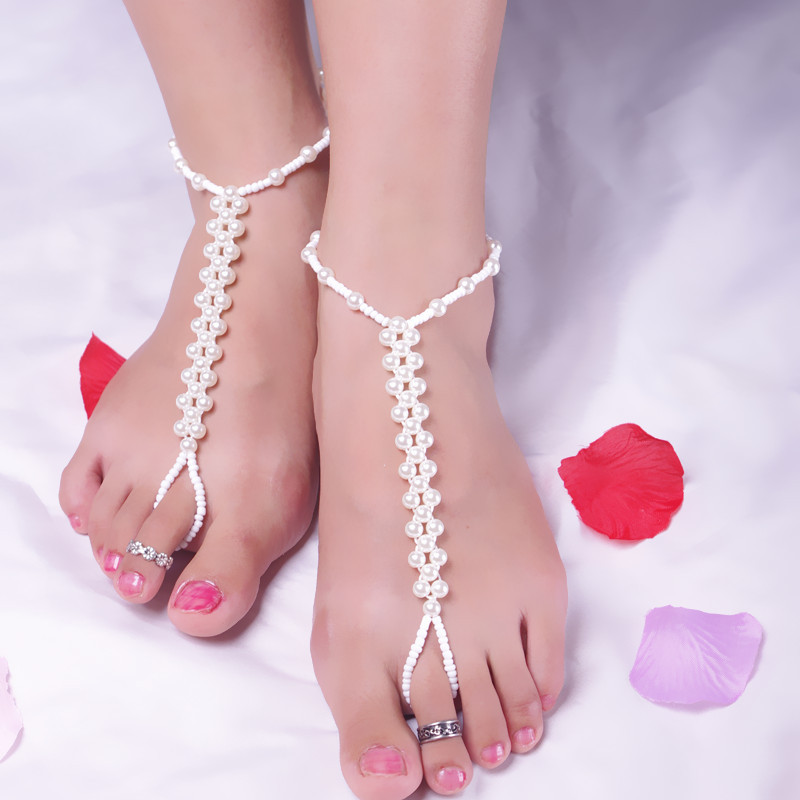 JINSE Barefoot Sandals High Quality Pearl Beads Anklet Foot Jewelry