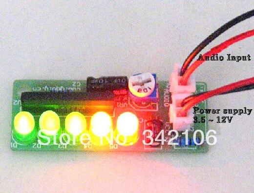 Free Shipping!!! 5pcs The audio level indicator circuit electronics diy led production (finished)