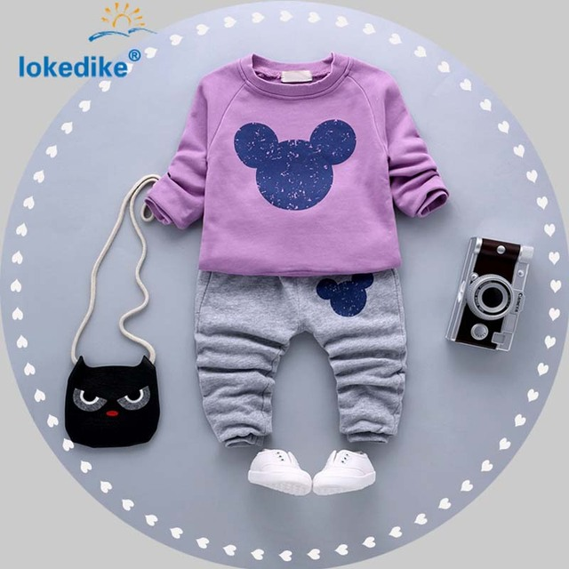 Children's Clothing Suits 2017 New Arrival Girls Clothes Cartoon Mickey  Autumn Spring  Kids Clothes 2pcs  T2773
