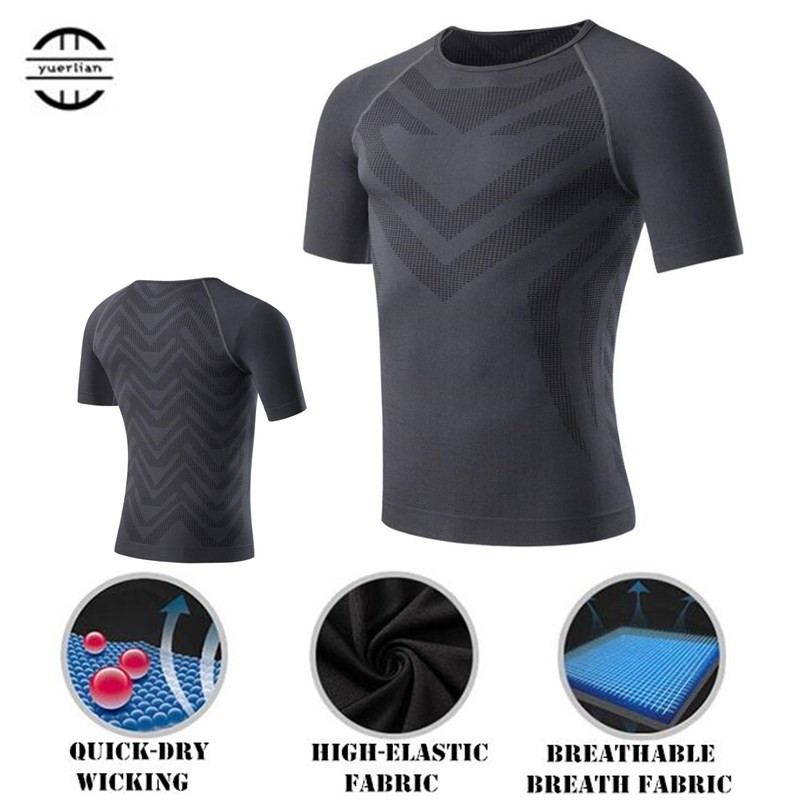 200pcs Men Shapers Compression Underwear 3D Tight Mesh T-shirt,Elastic Quick-dry Wicking Sport Fitness GYM Running Short Sleeves