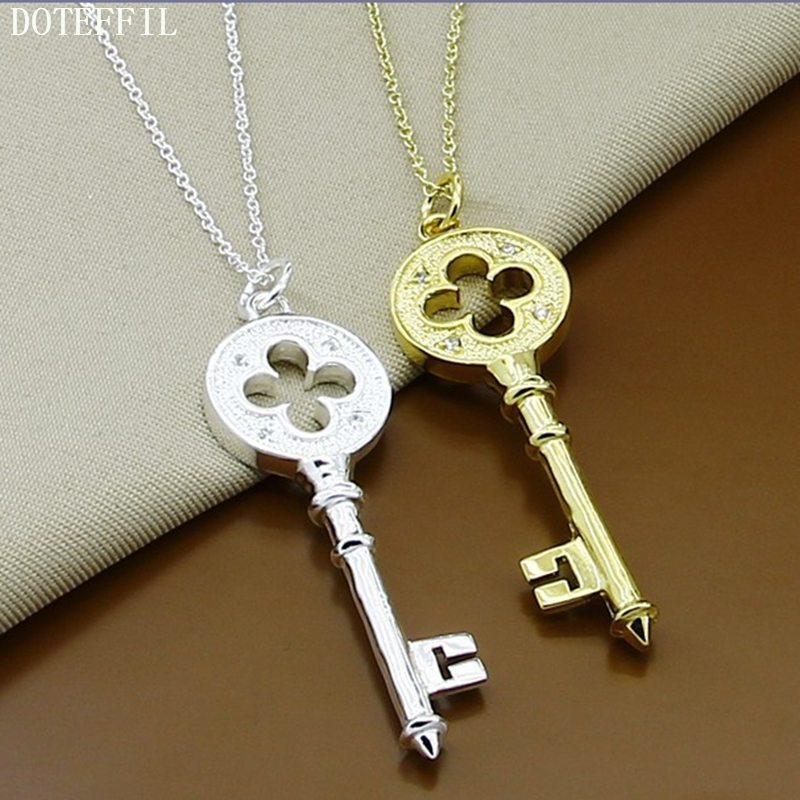 Vintage Key Pendant Necklace Crystals 925 Silver Color Gold Pendant Key Necklace