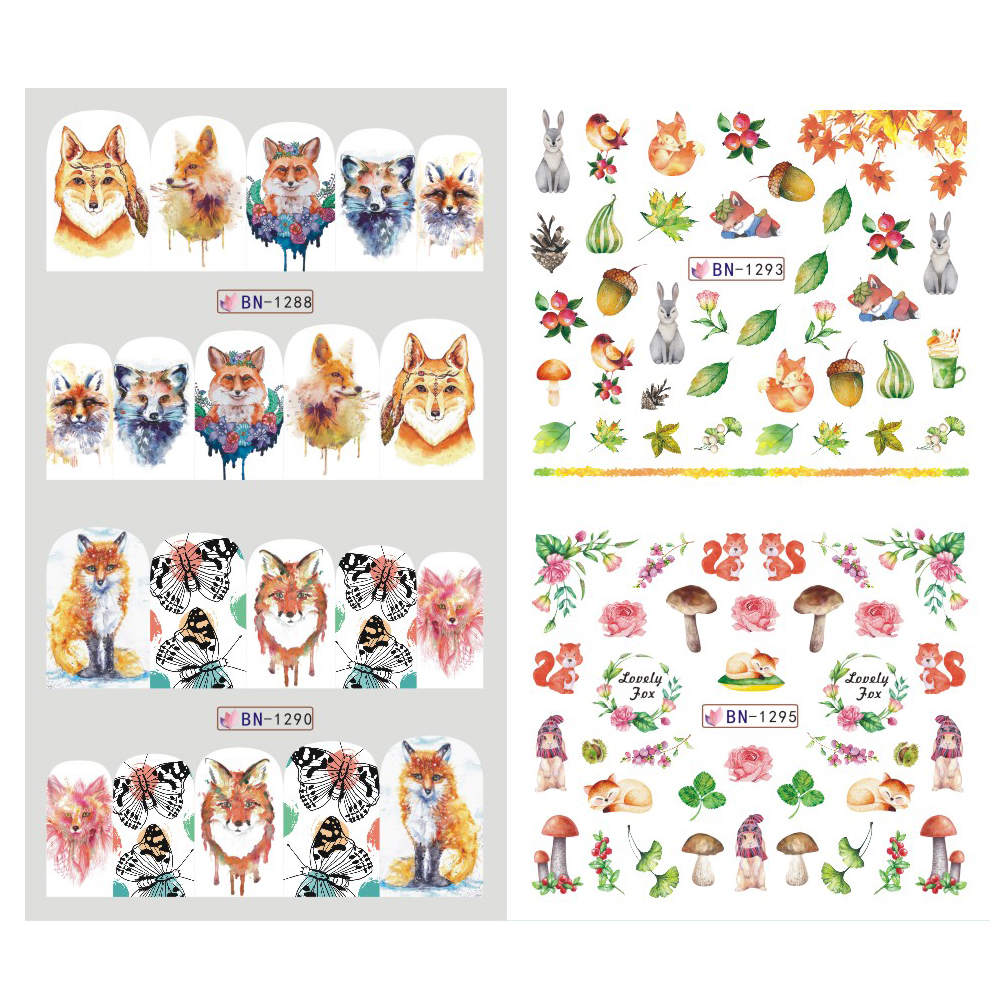 12 Designs Summer Nail Water Transfer Stickers Cactus Flamingo Heart Leaf Tattoo Decals Nail Art Decoration Slider 4