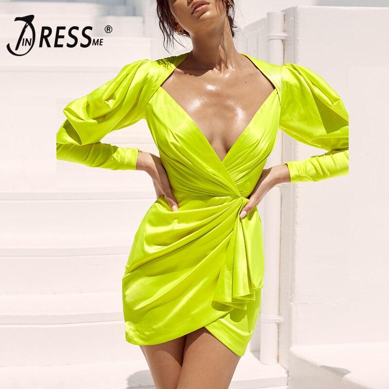 INDRESSME 2019 nouvelle Sexy décolleté plongeant manches bouffantes ruché Sexy Mini robe vert fluo