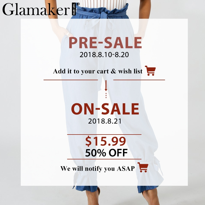 Glamaker Ruffle knot sash mom jeans Female lace up autumn winter jeans Femme party club wid leg streetwear women jeans bottom