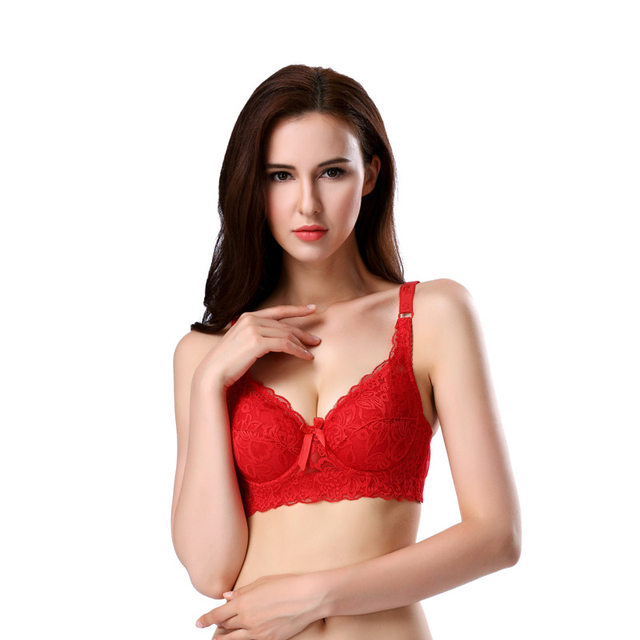 Red Lace SUPER Sexy Big Size Bra Large 40C 40D 42C 42D 44C 44D 46C 46D Cup  Women How Out Cotton Intimates Push Up Young Gilr Bra 8f6f426b9