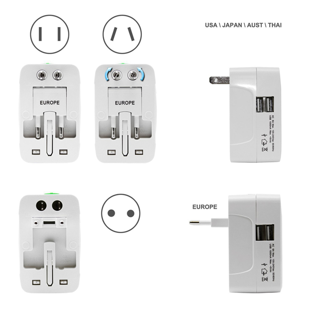 Image 5 - All in One Universal International Plug Adapter 2 USB Port World Travel AC Power Charger Adapter AU US UK EU Converter-in International Plug Adaptor from Consumer Electronics