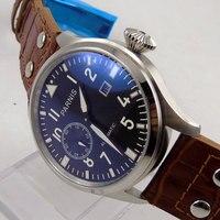 Parnis 47mm men's watch black dial luminous big crown date ST2555 Automatic movement wrist watch 714