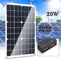 Double USB interface 20W 12V/5V Four heads Monocrystalline solar panel For Battery Cell Phone Chargers Cigarette Lighter