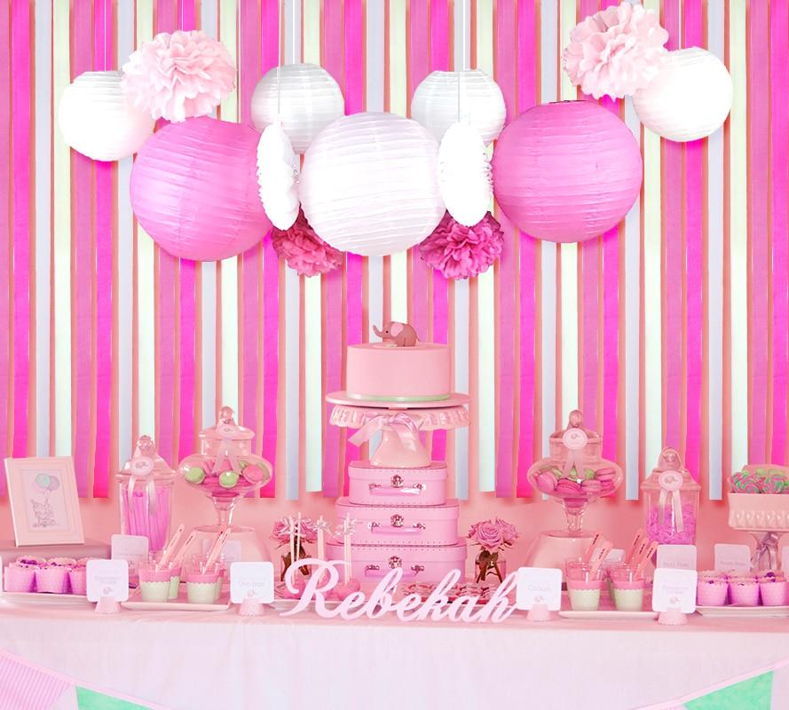 13pcs Set Pink Theme Background Wedding Decor Paper Lantern Cut Out Fan Pom Flower Style Home Festive Party Supplier In DIY Decorations