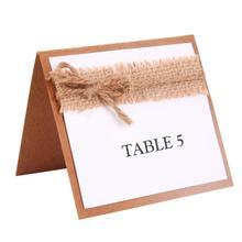 TPFOCUS 10 шт. вечерние ФИО гостя стол открытки с джутовым бантом и свадебные настольные номера винтажные Свадебные украшения