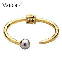 VAROLE Best Present Nail Hollow Ball Can Open Bangles For Women Summer Love Bangle Bracelet Gold Color Cuff Bracelets Pulseiras