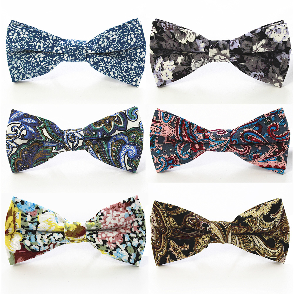 RBOCOTT Men's Brown Bow Tie Cotton Blue Floral Neckwear Bowties For Men Red Wedding Party Suit Fashion Accessories