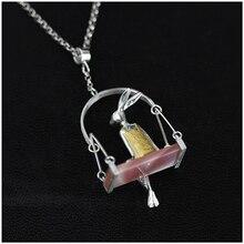 Brand Real Sterling Silver 925 Pendant for Women Fine Jewelry Animal Rabbit Swing Handmade Pendant Girl Gift Wholesale