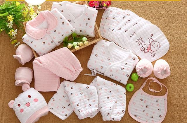 18 Pcs/Set Cotton Newborn Baby Girl Clothes Autumn Winter Baby Boy Clothing Set Cartoon Print New Born Baby Clothes Outfit Gift 1